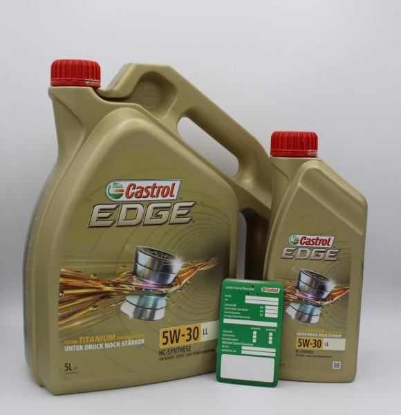Castrol Edge 5W-30 LL - 5L+1L+Ölwechselzettel