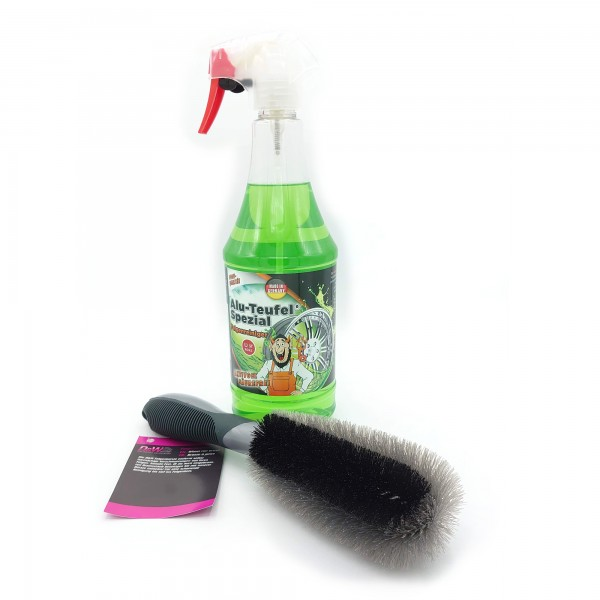 Tuga Alu-Teufel Spezial Felgenreiniger Sprayer 1000 ml plus D&W Felgenbürste grau/schwarz 28,5x7 cm
