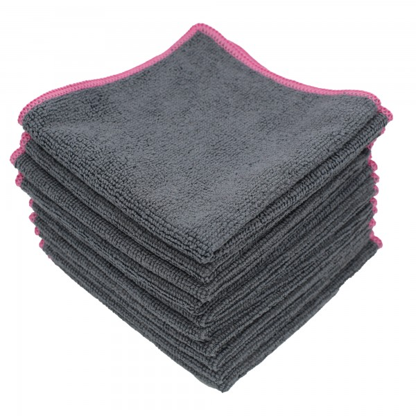 DuW Microfaser Tuch 30x30cm grau/pink 220g/m² 10 Stück