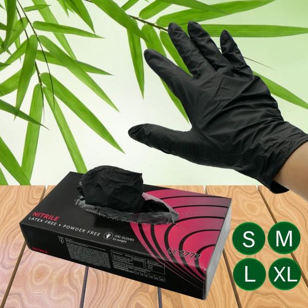 Be Tasty Nitril Einmalhandschuhe schwarz Gr. M (Sparset / 4 Pakete a. 100 Stück)