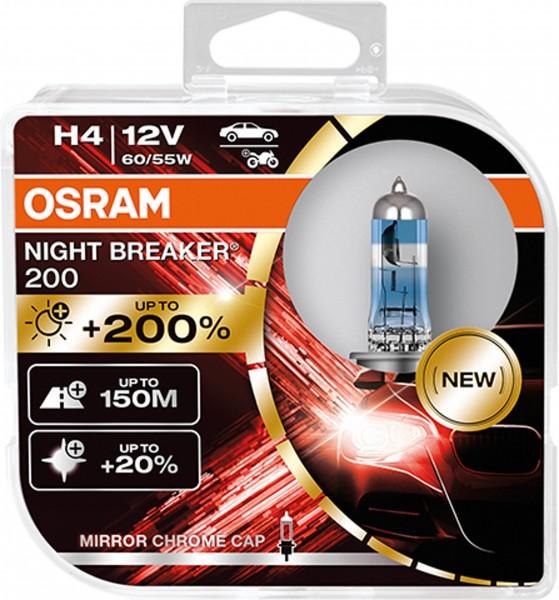 OSRAM Night Breaker 200 - bis zu 200 % mehr Helligkeit H4 (Duobox)