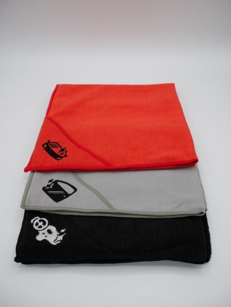 DuW 3er Set Mikrofasertücher rot/grau/schwarz 40x30 cm