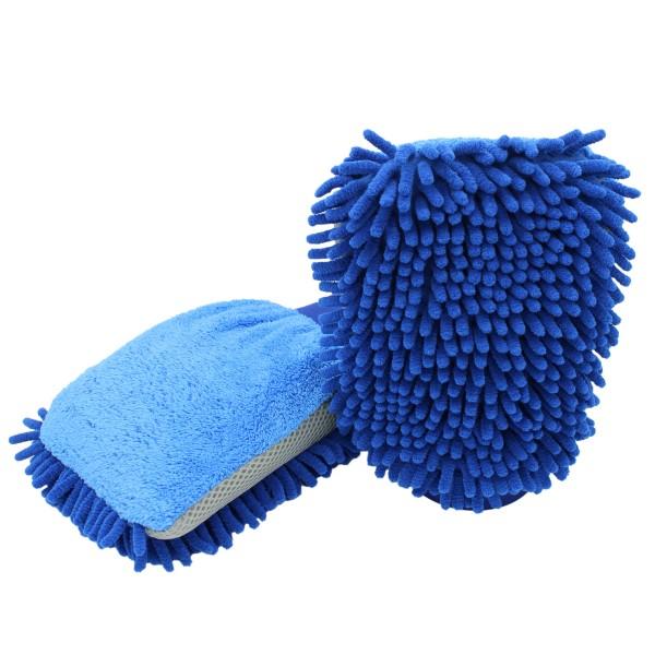 D&W Premium 3in1 Chenille Waschhandschuh blau/grau 22x17 cm