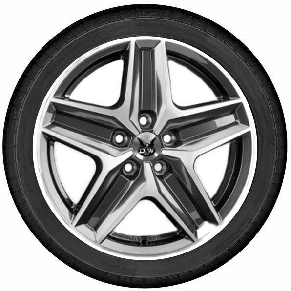 """DuW Wohnmobil-Komplettrad CWZ Felge 7,5x18"""" mistral anthr. polished Reifen 255/55R18 120CP Allseason"""