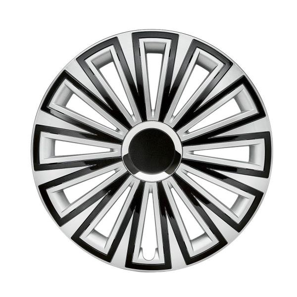 in.pro. Radzierblende Sunset silver/black plus 14 Zoll zweifarbig - glänzend - Chromring Set 4 St.